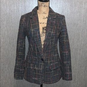 BB Dakota Rainbow Plaid Style Print Blazer Size 2